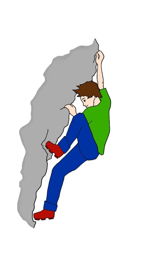 A drawing of a young, white man (Hugh Herr) with brown hair climbing a grey rock-face. He is wearing a green t-shirt, blue trousers, and red boots. He is smiling.