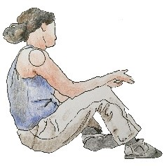 A woman is sitting on the ground. She has dark hair and is dressed in khakis ready to work outdoors.