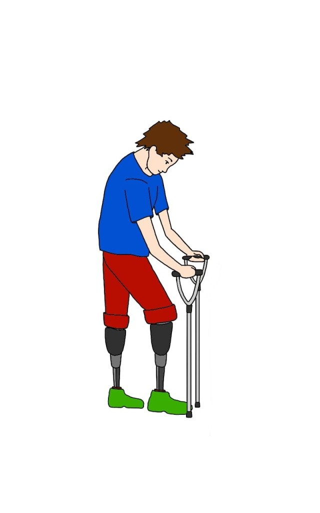 A drawing of Hugh after he has been given prostheses for the first time. He is wearing red trousers, which are rolled up to the knee. He is standing on grey prostheses, which end in green shoes, and using two crutches to help himself walk.