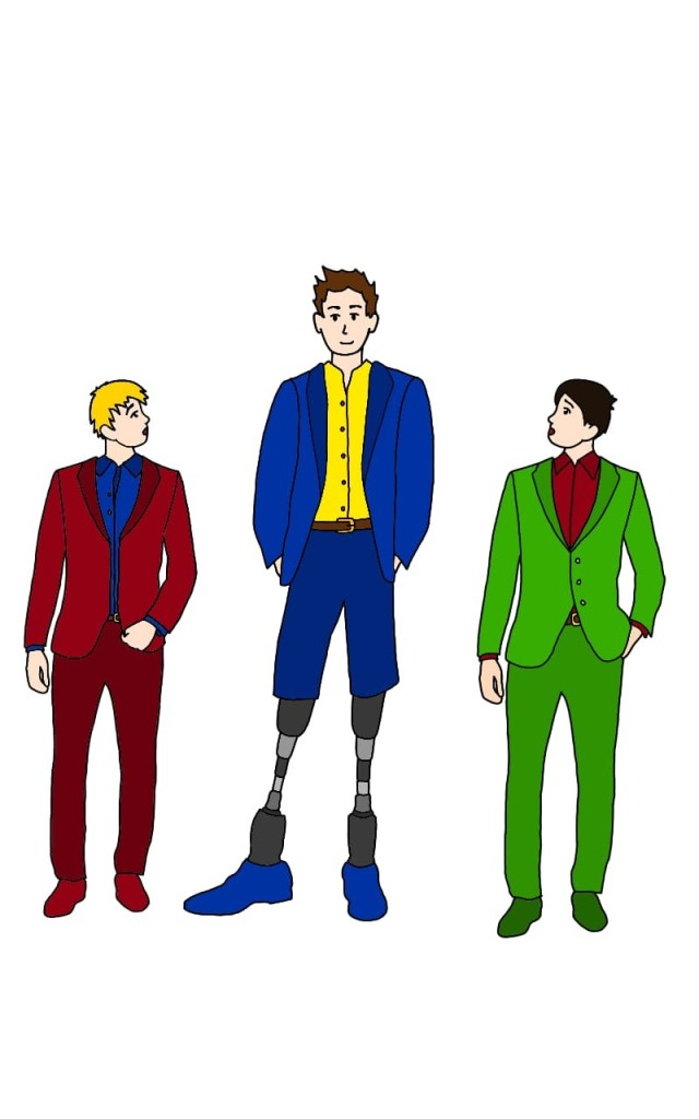 A drawing of three men. Hugh is in the centre. The other men are only tall enough to reach his elbow, because Hugh is wearing long black prostheses. All three men are dressed in suits, as if they are at a fancy part or event. Hugh's suit trousers are cut at the knee, so his prostheses are on display.