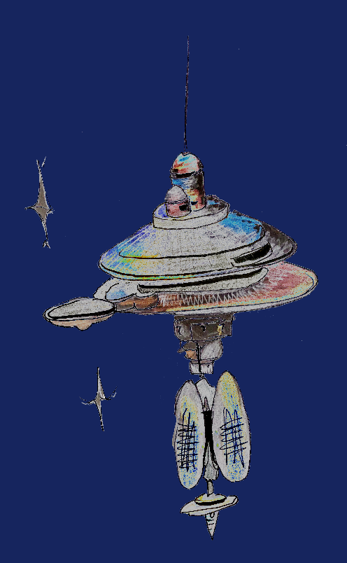 A drawing of a spaceship on a blue background. The ship is tall and thin, with a wide central disc and a large antenna.