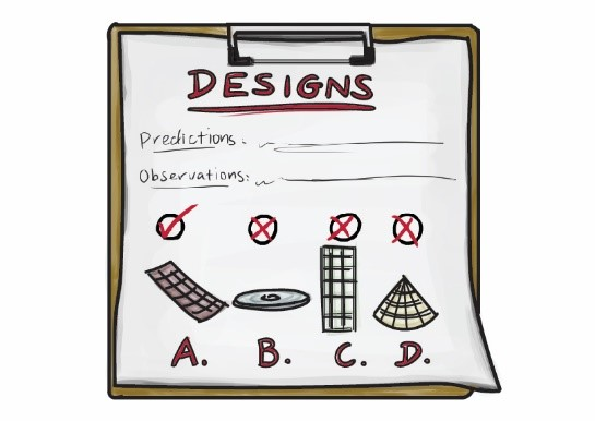 A drawing of a clipboard with a piece of paper pinned to it. The paper is titled 'DESIGNS'. Underneath, it says 'predictions' and 'observations'. There are also a few different bandage options shown, that are all different shapes. One has a big tick above it, while the others have crosses.