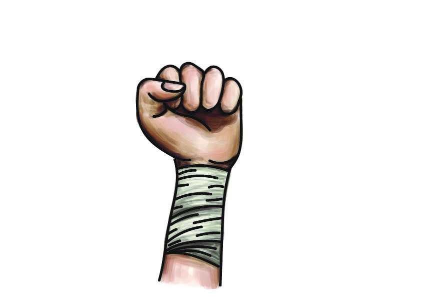A drawing of an arm with the bandage applied. It looks like a normal bandage on the outside.