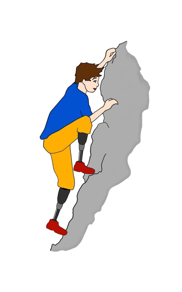 Hugh is climbing a grey rock-face once again. This time, he is wearing a blue shirt, orange trousers - and his prostheses, which end in red shoes.