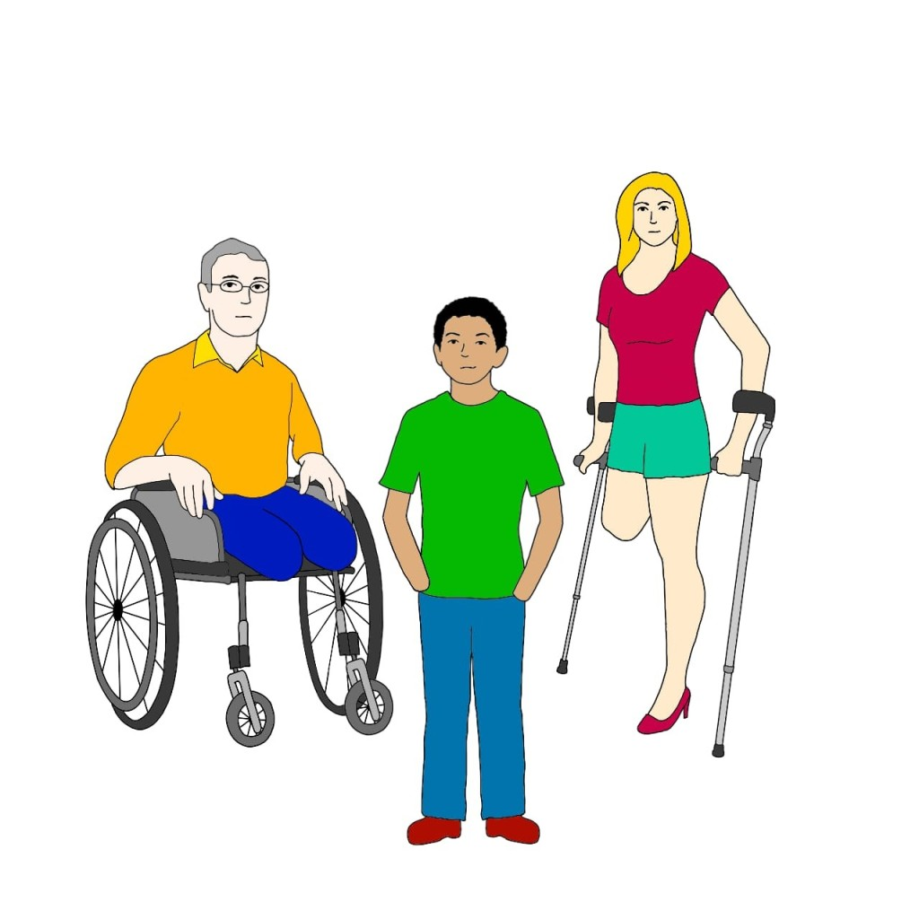 A drawing of three disabled people. There is a man sitting in a wheelchair, who has lost both his legs below the knee. Beside him is a woman who is standing using crutches. She has lost one leg to mid-thigh. In front of them both is a young man, who has lost both hands at the wrist.