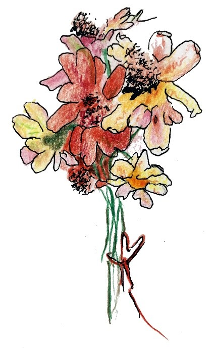 A drawing of a bunch of Zinnia flowers. They are red, yellow, and pink, and tied together with a red piece of string.