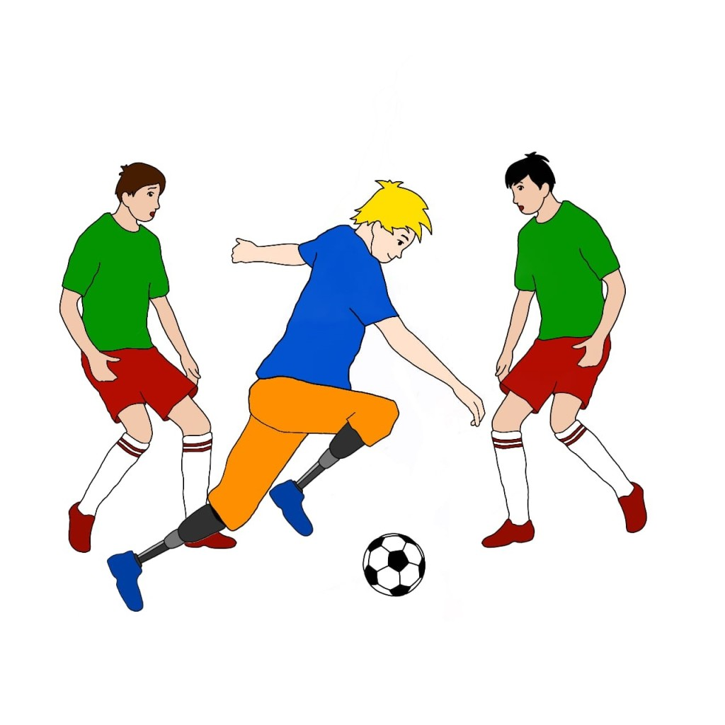 A drawing of two able-bodied football players. In front of them, a yellow-haired boy with prosthetic legs below the knee runs past, dribbling a football.