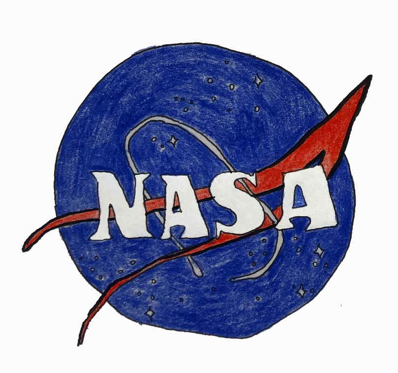 A drawing of the NASA logo. It is the word 'NASA' in white over a blue circle. On the circle, there are some small stars, a white ring, and a red ribbon-style arrow.