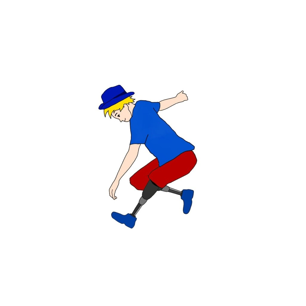 A drawing of a man bending over as if to pick something up from the floor. He has prosthetic legs up to the knee and is wearing blue shoes.