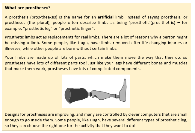 """A text box. It reads:  A prosthesis (pros-thee-sis) is the name for an artificial limb. Instead of saying prosthesis, or prostheses (the plural), people often describe limbs as being 'prosthetic'(pros-thet-ic) – for example, """"prosthetic leg"""" or """"prosthetic finger"""". Prosthetic limbs act as replacements for real limbs. There are a lot of reasons why a person might be missing a limb. Some people, like Hugh, have limbs removed after life-changing injuries or illnesses, while other people are born without certain limbs. Your limbs are made up of lots of parts, which make them move the way that they do, so prostheses have lots of different parts too! Just like your legs have different bones and muscles that make them work, prostheses have lots of complicated components.  There is a drawing of a prosthetic leg here. It shows the many different parts - from foot, to ankle, to a shin, and a large hole where the knee is inserted.  Designs for prostheses are improving, and many are controlled by clever computers that are small enough to go inside them. Some people, like Hugh, have several different types of prosthetic leg, so they can choose the right one for the activity that they want to do!"""