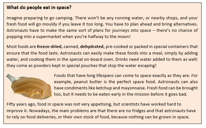 A text box. It reads: What do people eat in space?  Imagine preparing to go camping. There won't be any running water, or nearby shops, and your fresh food will go mouldy if you leave it too long. You have to plan ahead and bring alternatives. Astronauts have to make the same sort of plans for journeys into space – there's no chance of popping into a supermarket when you're halfway to the moon!  Most foods are freeze-dried, canned, dehydrated, pre-cooked or packed in special containers that ensure that the food lasts. Astronauts can easily make these foods into a meal, simply by adding water, and cooking them in the special on-board oven. Drinks need water added to them as well: they come as powders kept in special pouches that stop the water escaping! Foods that have long lifespans can come to space exactly as they are. For example, peanut butter is the perfect space food. Astronauts can also have condiments like ketchup and mayonnaise. Fresh food can be brought too, but it needs to be eaten early in the mission before it goes bad. Fifty years ago, food in space was not very appetising, but scientists have worked hard to improve it. Nowadays, the main problems are that there are no fridges and that astronauts have to rely on food deliveries, or their own stock of food, because nothing can be grown in space. There is also a photograph of a spoon, which is covered in peanut butter.