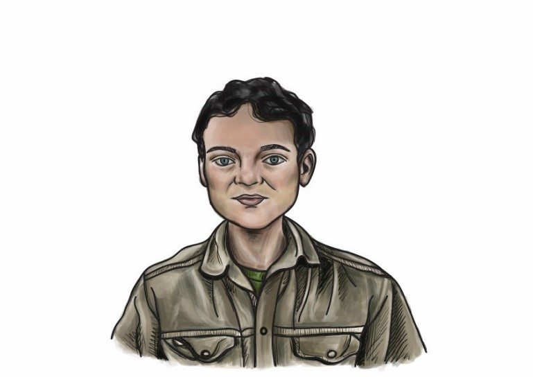 A drawing of Nizar. He is young, perhaps 30 years old, and has olive skin and dark hair. He is wearing expedition gear - a loose khaki shirt and t-shirt.