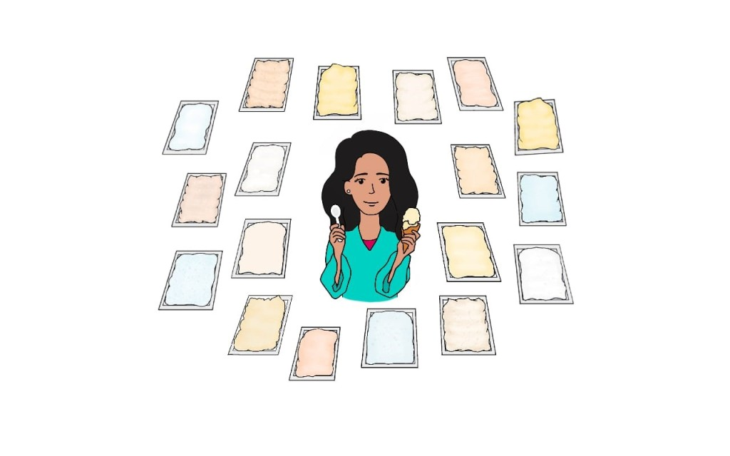 Dr Maya Warren, holding a spoon in one hand and an ice cream (scoops in a cone) in the other hand. She is surrounded by 18 tubs of vanilla ice cream, which all look slightly different.