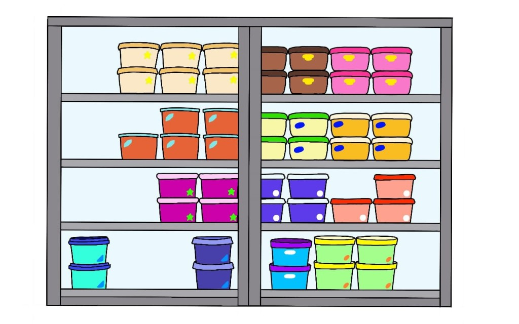 A large freezer with double doors; the kind you'd find in supermarkets. Inside it are lots of different tubs of ice cream. They are different shapes and colours, showing that they come from different brands and are probably different flavours.