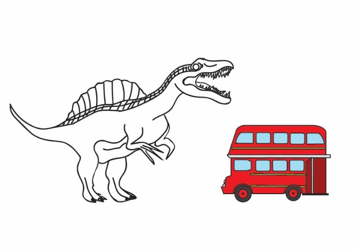 A drawing of Spinosaurus that is exactly the same as the one above. Beside it, taking up less than half of its length, is a small red double decker bus.