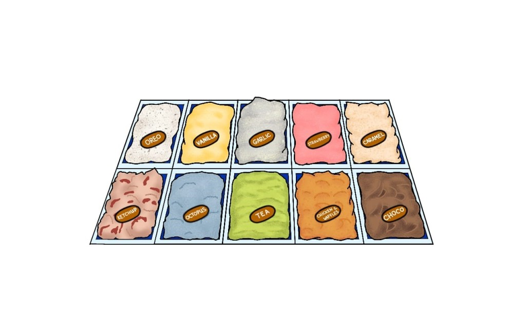 A drawing of ice cream tubs as you would find them in an ice cream cafe. Across the top there are five tubs: oreo, which is white with brown speckles; vanilla, which is yellow; garlic, which is white; strawberry, which is pink, and caramel, which is light brown. Along the bottom, there are five more tubs: ketchup, which is pink with red splotches; octopus, which is blue; tea, which is green; chicken and waffles, which is orange, and chocolate, which is brown.
